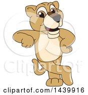 Lion Cub School Mascot Character Leaning