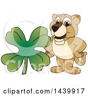 Lion Cub School Mascot Character With A St Patricks Day Clover