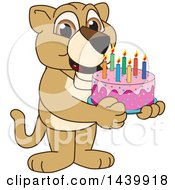 Poster, Art Print Of Lion Cub School Mascot Character Holding A Birthday Cake
