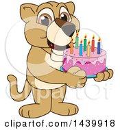 Lion Cub School Mascot Character Holding A Birthday Cake