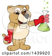 Lion Cub School Mascot Character Holding A Science Flask