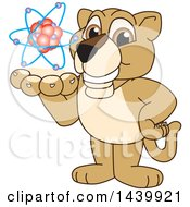 Lion Cub School Mascot Character Holding An Atom