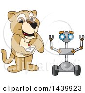 Lion Cub School Mascot Character Operating A Robot