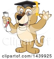 Clipart Of A Lion Cub School Mascot Character Graduate Royalty Free Vector Illustration by Toons4Biz