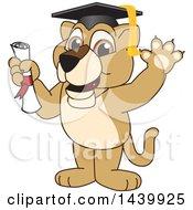 Lion Cub School Mascot Character Graduate