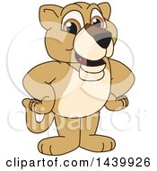 Lion Cub School Mascot Character with His Hands on His Hips