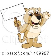 Lion Cub School Mascot Character Holding A Blank Sign