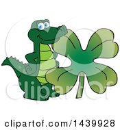 Gator School Mascot Character With A St Patricks Day Clover
