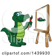 Clipart Of A Gator School Mascot Character Painting Royalty Free Vector Illustration