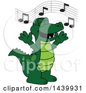 Clipart Of A Gator School Mascot Character Singing Royalty Free Vector Illustration
