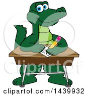 Clipart Of A Gator School Mascot Character Writing At A Desk Royalty Free Vector Illustration