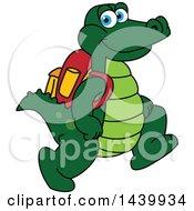 Gator School Mascot Character Wearing A Backpack