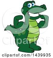 Gator School Mascot Character Flexing