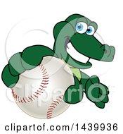 Gator School Mascot Character Grabbing A Baseball