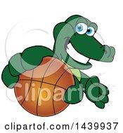 Gator School Mascot Character Grabbing A Basketball