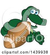 Gator School Mascot Character Grabbing A Football