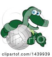 Gator School Mascot Character Grabbing A Volleyball