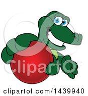 Gator School Mascot Character Grabbing A Red Ball