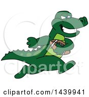 Gator School Mascot Character Playing Football