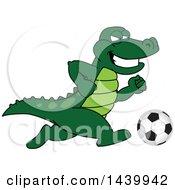Gator School Mascot Character Playing Soccer