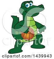 Poster, Art Print Of Gator School Mascot Character Playing Basketball