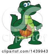 Gator School Mascot Character Playing Basketball