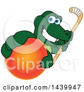 Gator School Mascot Character Grabbing A Field Hockey Ball And Holding A Stick