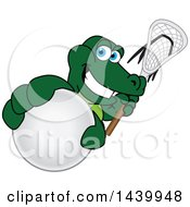 Gator School Mascot Character Grabbing A Lacrosse Ball And Holding A Stick