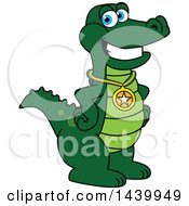 Gator School Mascot Character Wearing A Sports Medal