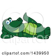 Clipart Of A Gator School Mascot Character Relaxing Royalty Free Vector Illustration