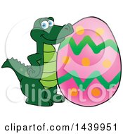 Clipart Of A Gator School Mascot Character With An Easter Egg Royalty Free Vector Illustration