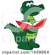 Clipart Of A Gator School Mascot Character Reading A Book Royalty Free Vector Illustration