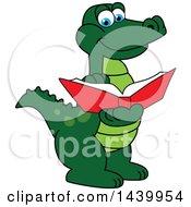 Gator School Mascot Character Reading A Book