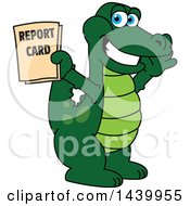 Clipart Of A Gator School Mascot Character Holding A Report Card Royalty Free Vector Illustration by Toons4Biz