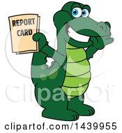 Gator School Mascot Character Holding A Report Card