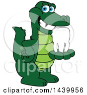 Clipart Of A Gator School Mascot Character Holding A Tooth Royalty Free Vector Illustration by Toons4Biz