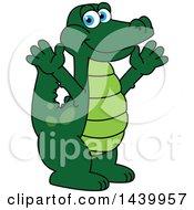 Gator School Mascot Character Welcoming Or Cheering