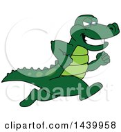 Clipart Of A Gator School Mascot Character Running Royalty Free Vector Illustration