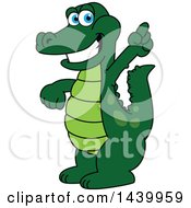 Gator School Mascot Character Holding Up A Finger