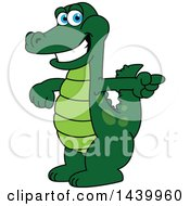 Clipart Of A Gator School Mascot Character Pointing Royalty Free Vector Illustration by Toons4Biz
