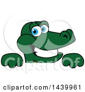 Gator School Mascot Character Over A Sign