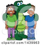 Clipart Of A Gator School Mascot Character With Happy Students Royalty Free Vector Illustration by Toons4Biz