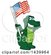 Gator School Mascot Character Waving An American Flag