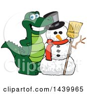 Clipart Of A Gator School Mascot Character With A Snowman Royalty Free Vector Illustration by Toons4Biz