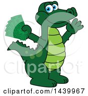 Clipart Of A Gator School Mascot Character Holding Cash Money Royalty Free Vector Illustration by Toons4Biz