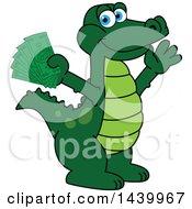 Gator School Mascot Character Holding Cash Money