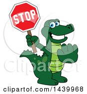 Gator School Mascot Character Holding A Stop Sign