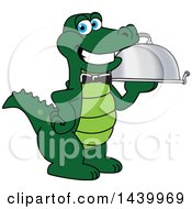 Clipart Of A Gator School Mascot Character Waiter Holding A Cloche Platter Royalty Free Vector Illustration