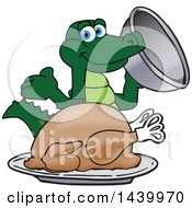 Clipart Of A Gator School Mascot Character Serving A Thanksgiving Turkey Royalty Free Vector Illustration