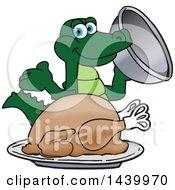 Gator School Mascot Character Serving A Thanksgiving Turkey